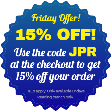 Get 15% off orders over £15 with code JPR at the checkout! T&Cs apply. reading branch only, available exclusively on Fridays.