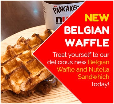 Order our new Belgian Waffle and Nutella Sandwich dessert today!