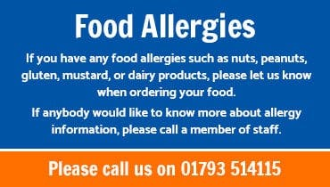 If you have any food allergies such as nuts, peanuts, gluten, mustard, or dairy products, please let us know when ordering your food.  If anybody would like to know more about allergy information, please call a member of staff.