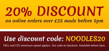 20% off orders over £25 before 5pm with code NOODLES20! T&Cs apply.