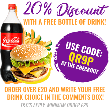 Get 20% off your next online order over £20, as well as a free bottle of drink! Write your choice of drink in the comments box when you order.