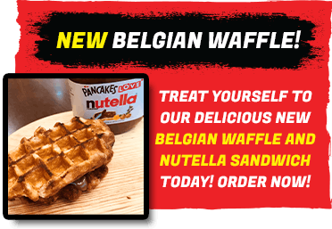 Order our delicious new Belgian Waffle and Nutella Sandwich dessert online today!