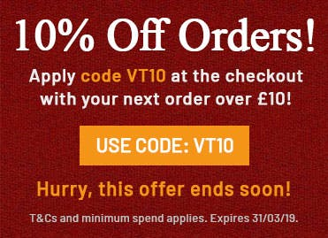 Apply code VT10 at the checkout with your next order over £10! T&Cs and minimum spend applies, expires 31/03/19.