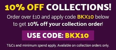 10% Off Collection Orders Over £10! Use code BKX10 at the checkout. T&Cs and minimum spend apply. Available on collection orders only.