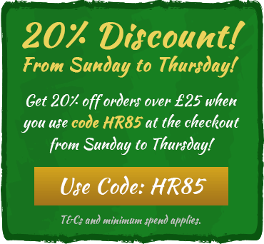 20% off orders over £25 from Sunday to Thursday! Use code HR85 at the checkout. T&Cs and minimum spend applies.