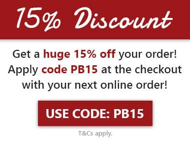 Get a huge 15% off orders when you apply code PB15 at the checkout with your next online order! T&Cs apply.