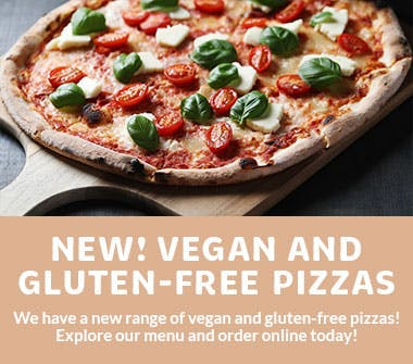 Vegan and gluten-free pizzas! Explore our new range of pizzas today!