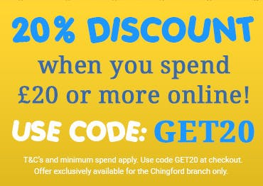 20% off orders over £20 when you use code GET20 at the checkout! T&Cs apply, offer exclusive to our Chingford branch.