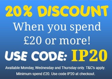 20% off orders over £20 when you use code IP20 at the checkout! T&Cs apply, offer exclusive to our Chingford branch. Available Monday, Wednesday and Thursday only.