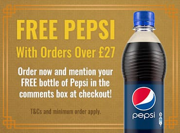 Order over £27 and get a free bottle of Pepsi!  Mention your free bottle in the comments box at the checkout with your next order.