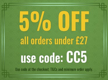 5% off all orders under £27 when you apply code CC5 at the checkout! T&Cs and minimum spend apply.