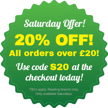 Get 20% off orders over £20 with code S20 at the checkout! T&Cs apply. reading branch only, available exclusively on Fridays.