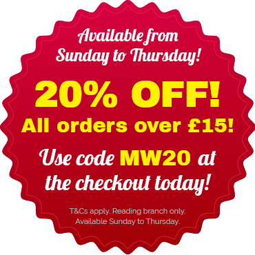 Get 20% off from Sunday to Thursday with code MW20 at the checkout! T&Cs apply. Reading branch only.