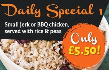 Small jerk or BBQ chicken served with rice and peas! Only £5.50!