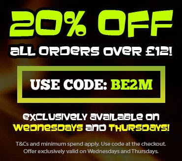 20% off orders over £12 when you use code BE2M!  Offer available on Wednesdays and Thursdays. T&Cs and minimum spend apply, use code at checkout.