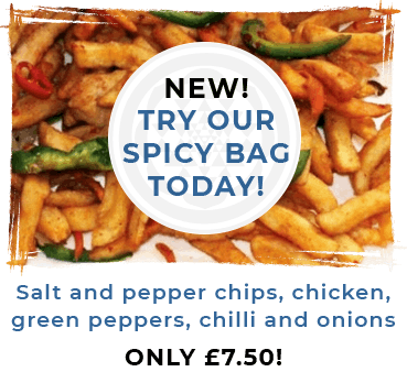Our new spicy bag includes Salt and pepper chips, chicken, green peppers, chilli and onions for just £7.50! Order today!