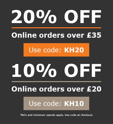 20% off online orders over £35 with code KH20, or 10% off online orders over £20 with code KH10! Use codes at checkout. T&Cs apply.