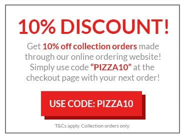 Get 10% off collection orders made through our online ordering website! Simply use code