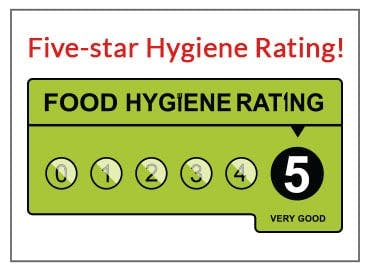 Five-star Food Hygiene Rating!