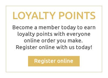 Earn loyalty points for every online order you make when you become a member with us today!