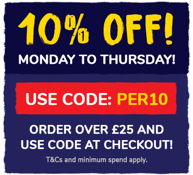 10% off Monday to Thursday! Order over £25 and use code PER10 at the checkout! T&Cs and min spend apply.