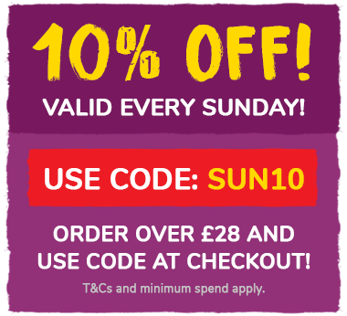 10% off every Sunday! Order over £28 and use code SUN10 at the checkout! T&Cs and min spend apply.