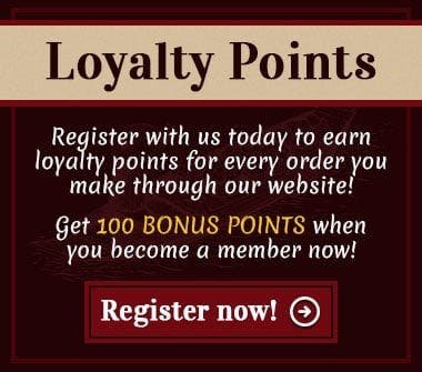 Earn loyalty points for every online order you make when you register with us today!