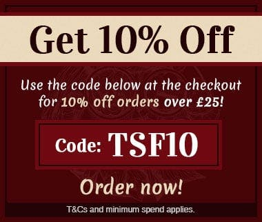 Apply the code TSF10 at the checkout to get 10% off your next online order over £25! Order now!