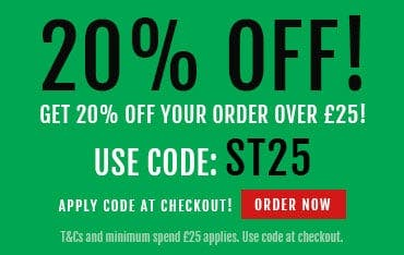 Get 20% off over £25 from Saturday to Monday when you apply the code ST25 at the checkout today!
