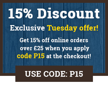 Get 15% off online orders over £25 on Tuesdays when you apply code P10 at the checkout!