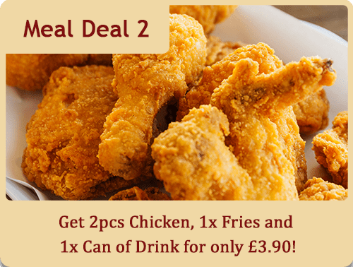 Get 2pcs of Chicken, 1x Fries and 1x Can of Drink for only £3.90!