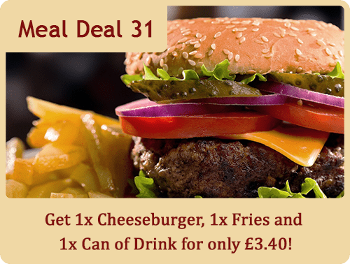 Get 1x Cheeseburger, 1x Fries and 1x Can of Drink for only £3.40!