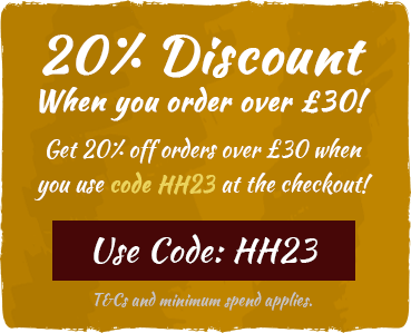 20% off orders over £30 with code HH23! Use code at checkout. T&Cs and minimum spend apply.