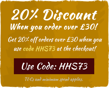 20% off orders over £30 with code HSS73! Use code at checkout. T&Cs and minimum spend apply.