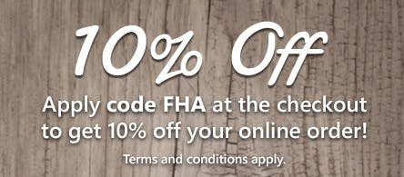 Get a huge 10% off orders when you apply code FHA at the checkout with your next online order! T&Cs apply.