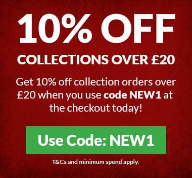 10% off collections over £20 when you use code NEW1 at the checkout! T&Cs and minimum spend apply.