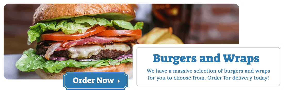 We have a massive selection of burgers and wraps for you to choose from. Order for delivery today!