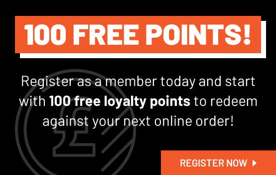 Get 100 Free Loyalty Points when you register as a member online!