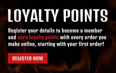 Register your details to become a member and earn loyalty points with every order you make online, starting with your first order!
