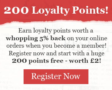 Earn 5% of your online order back when you register as a member, and stat with a huge 200 points!