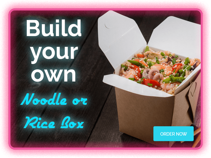 Build your own noodle or rice box at Wokway