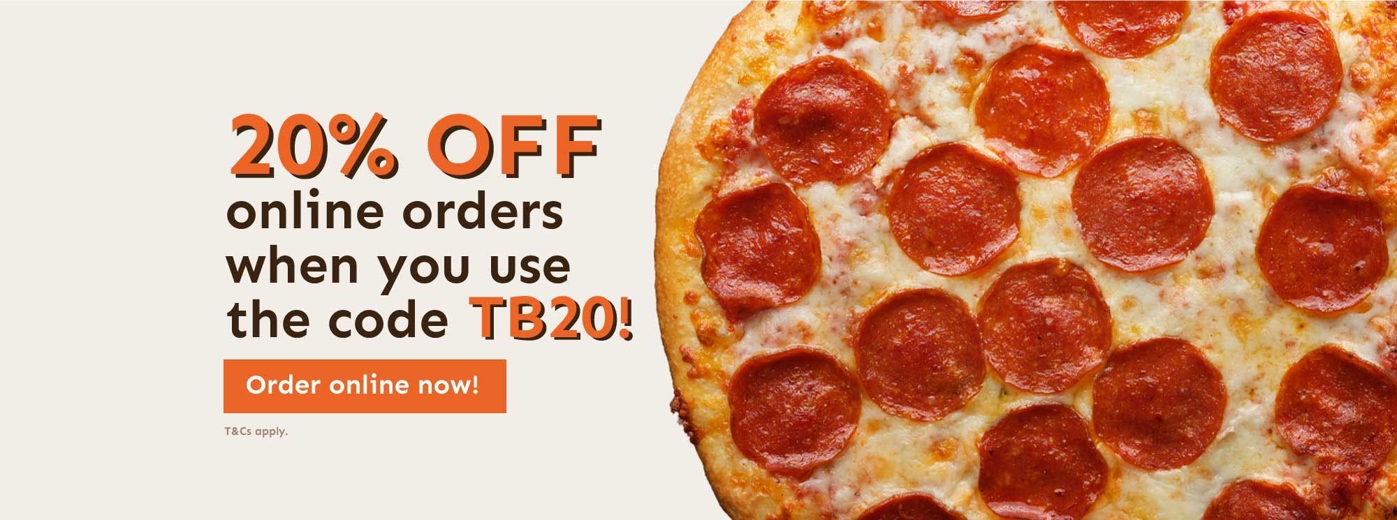 20% off online order with code TB20